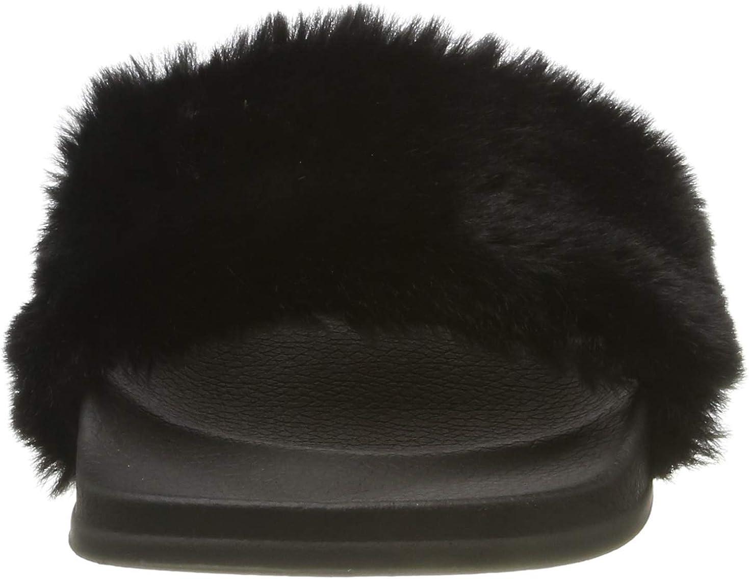 APIKA Femmes Flip Flop Faux Fourrure Slipper Fuzzy Fluffy Comfy Sliders Open Toe Slip sur