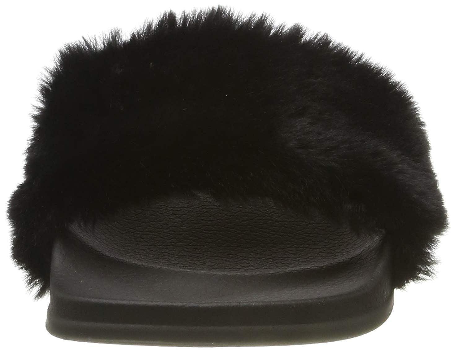 APIKA Damen Flip Flop Kunstpelz Slipper Fuzzy Fluffy Comfy Sliders Offene Zehe
