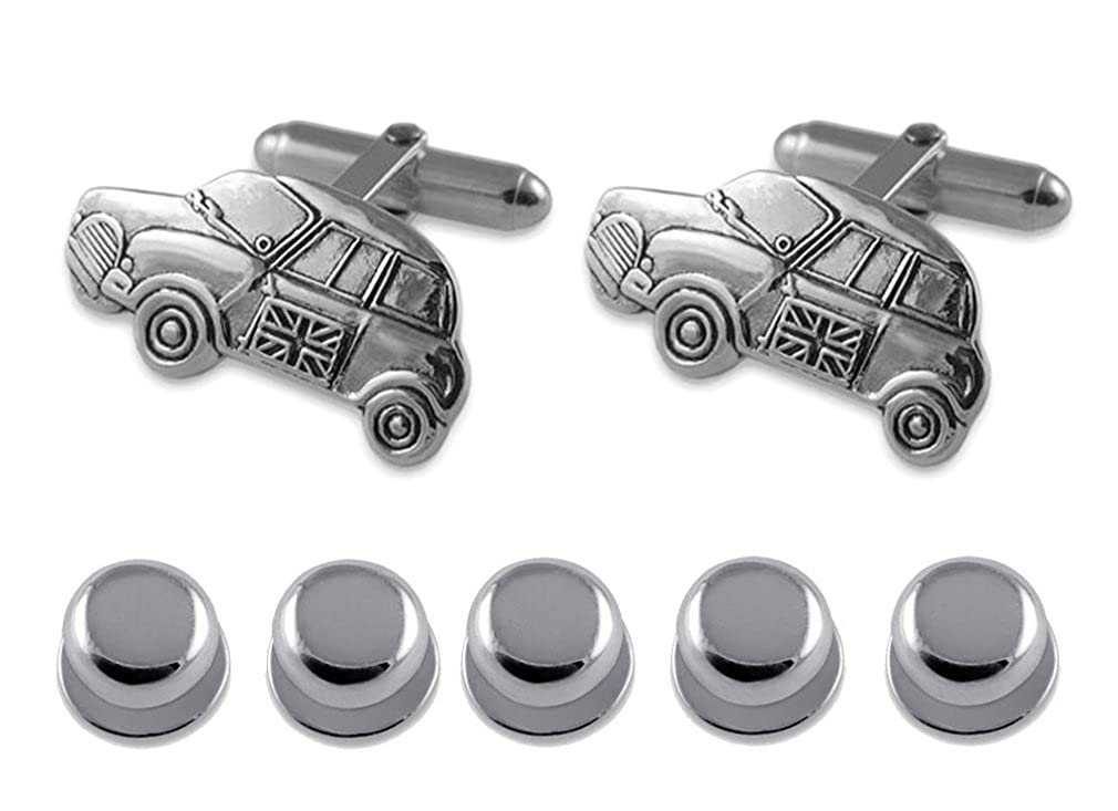 Sterling silver Mini car Cufflinks Shirt Dress Studs Gift Set