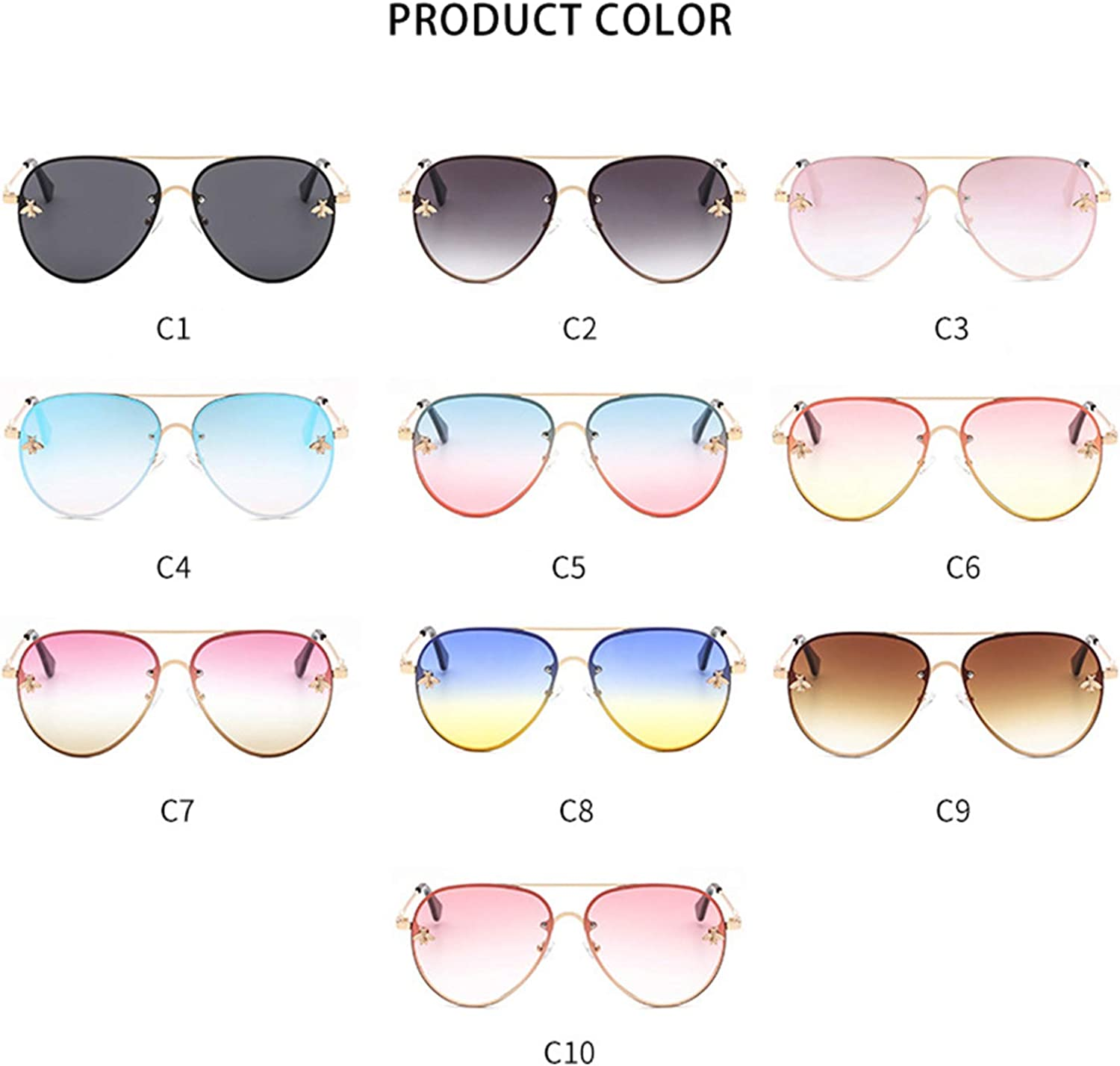 Oval Rimless Sunglasses Women Small Bee Black Pink Eyewear Ocean Sun Glasses