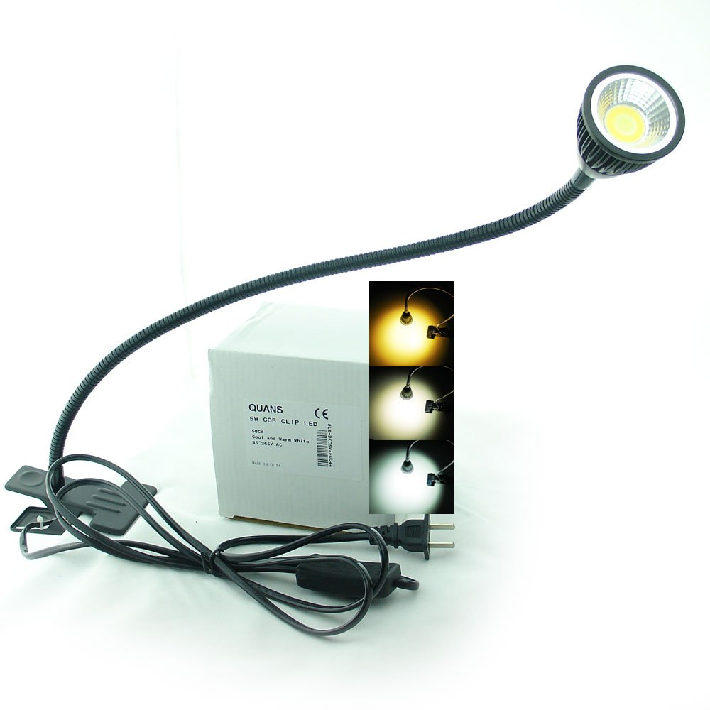 QUANS 5W 3 Colors LED COB Clip on Light Black 19.68 INCH 50 CM Tube Desk Flexible Table Bed Lamp Work Home Design lighting 110V 220V 85-265VAC with US Plug switch on off 500LM D44b by QUANS (Image #3)