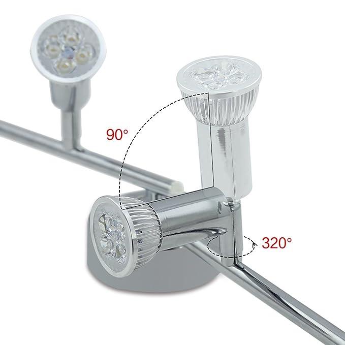 VINGO Barras de focos Gu10 4w Proyector de techo plafon Foco direccional con 4 bombillas para bar-espejo-closer Clase de eficiencia energética A++ IP44: ...