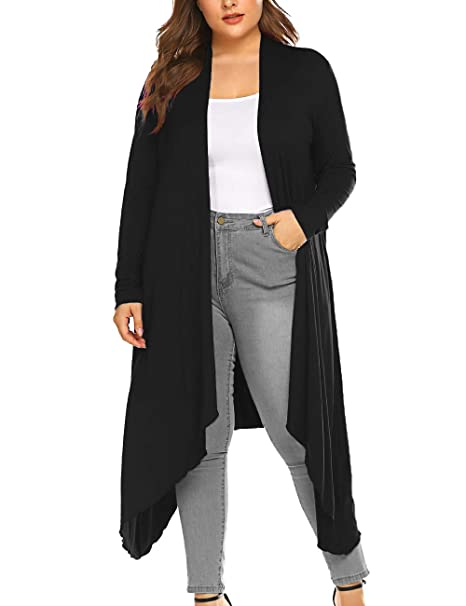 5b8915684a1 Women s Long Open Front Drape High Low Hem Black Long Sleeve Duster Cardigan  Black xl