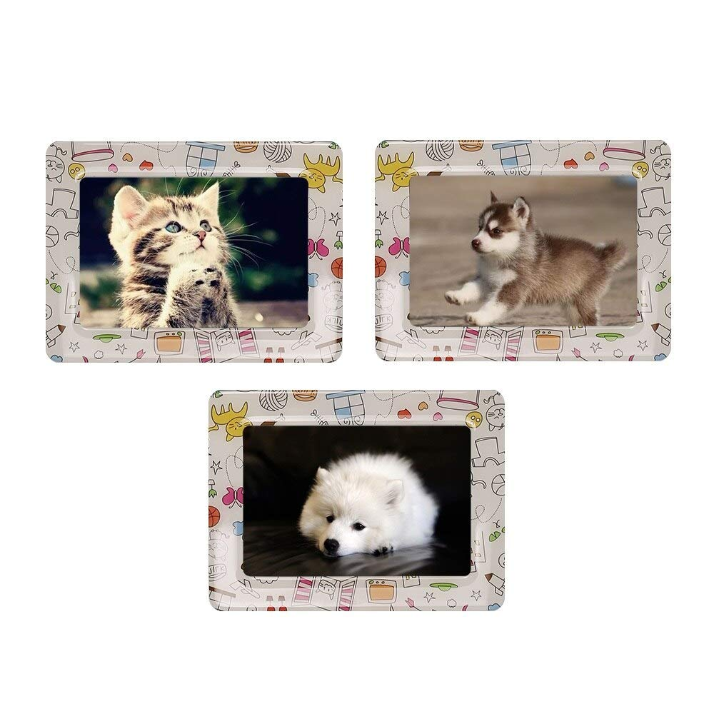 Glass figurines Picture Frame - 5'' x 3'' Inch Fridge Photo Frame Magnets Lovely Colorful Retro Cartoon Fridge Magnet Magnetic Picture Frames 3 Pieces/Set