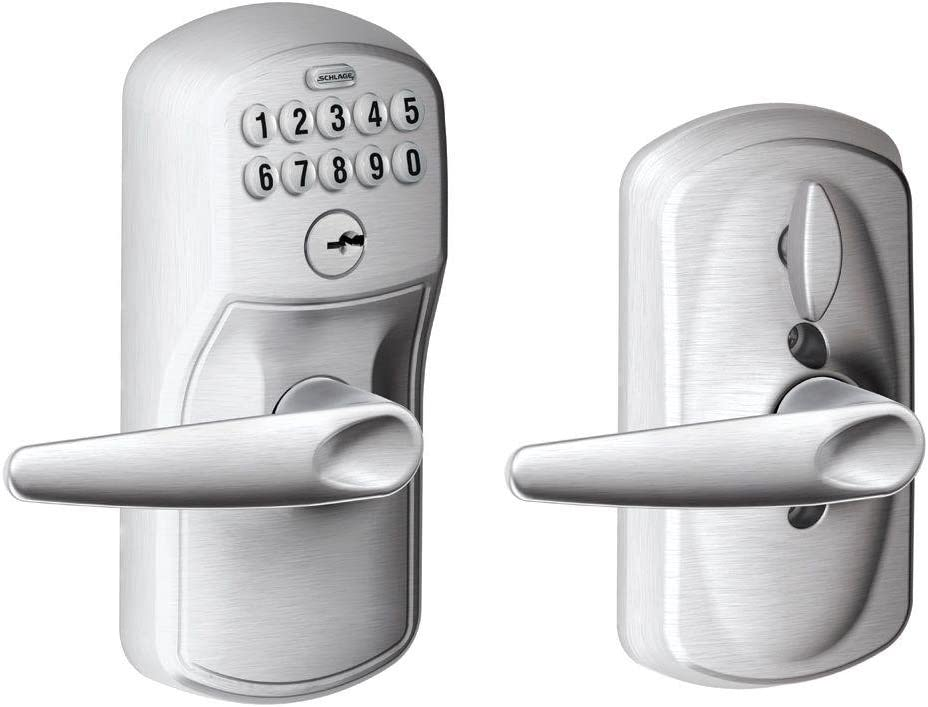 Schlage FE595 PLY 626 JAZ Plymouth Keypad Entry with Flex-Lock and Jazz Style Levers, Brushed Chrome