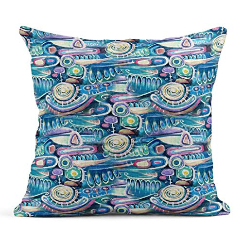 Tarolo Throw Pillow Covers Abstract Canvas Bouquet of Flowers Sea Blooming Peas Turquoise Color Composition Aztec Maya Incas Pattern Linen Cushion Cases Home Decorative Pillowcases 18 x 18 inches