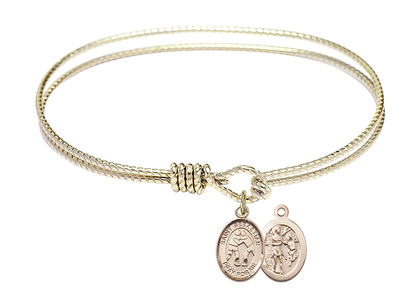 7 1/4 inch Oval Eye Hook Bangle Bracelet with a St. Sebastian/Wrestling charm.