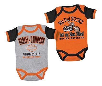 d8af881b4 Harley-Davidson Baby Boys' Mom Rules 2 Creeper Set, Black/Orange 3050553