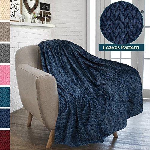 PAVILIA Luxury Soft Plush Navy Blue Throw Blanket for Sofa, Couch   Velvet Fleece Chevron Pattern Throw   Cozy Lightweight Microfiber, Reversible Blanket   All Season Use   50 x 60 Inches