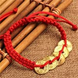 EatingBiting(R)Feng Shui Red String Lucky Coin Charm Bracelet for Good Luck & Wealth