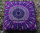 Elephant Paisley Mandala Square Floor Pillow Large Ottoman Pouf Cover Hippie Indian Sofa Cushion Cover Outdoor Dog Bed Seating Daybed Throw by Handicraftspalace