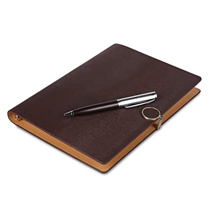 COI Brown Faux Leather Undated Daily Planner and Business Card Organizer, Corporate Executive Gift Diary for Men and Women with Pen: Amazon.in: Office ...