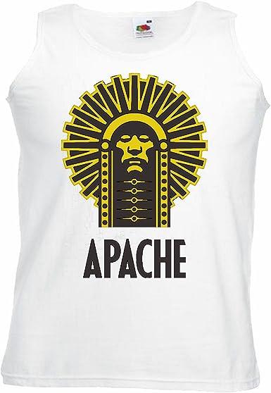 Camisa del músculo Tank Top Indian Jefe Apache Indio Cara Tribu India Indio joyería de Vuelo rasante India Manga en Blanco: Amazon.es: Ropa y accesorios