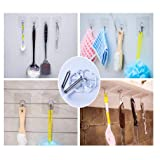 Adhesive Hooks Utility Hooks - 12 Packs 22lbs Heavy Duty Wall Hooks Waterproof Reusable Seamless Sticky Hook for Bathroom Kitchen Wall Door Ceiling and More Transparent DEWANG Command Hooks Heavy Duty