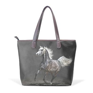 ed559f4c121 Amazon.com: TJDY Store Running Horse PU Leather Handbags Tote Bag ...