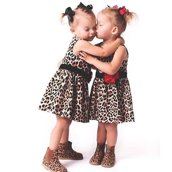 bebé niña Princesa Vestido de Leopardo, Vestido sin manags ...