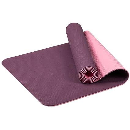 MaxYoga Esterilla para Yoga / Pilates / Gimnasia de material ecológico TPE. Yoga Colchoneta Esterilla Antideslizante y Ligero con grosor de 6mm, tamaño 183cm x 61cm. -Morado