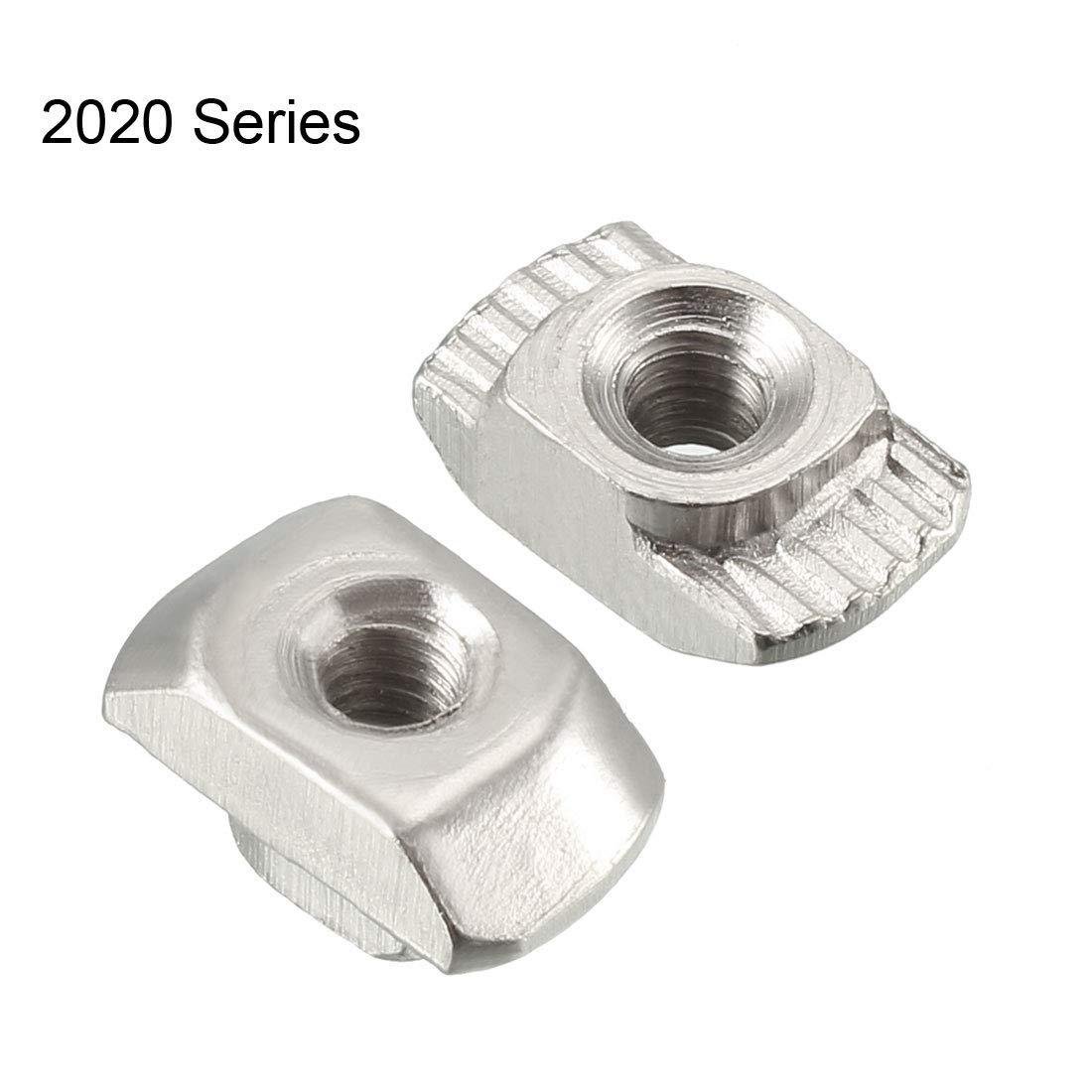 50er-Packung Kohlenstoffstahl vernickelt M3 Halbrund-T-Nutenstein f/ür Aluminium-Strangpressprofile der Serie 2020 DealMux T-Nutensteine