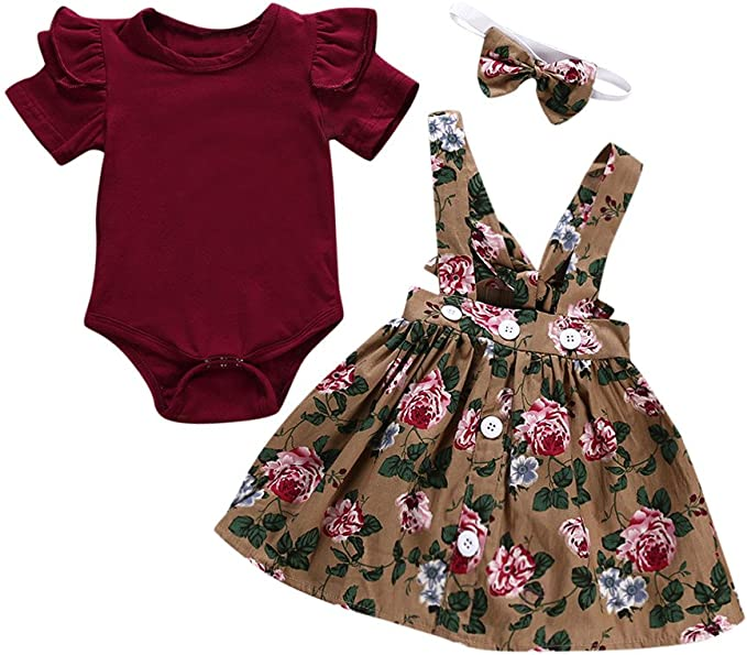 iHHAPY 3Pcs Baby Girls Clothes,Summer Romper Bodysuit+Overalls Skirt+Headband Outfits Set