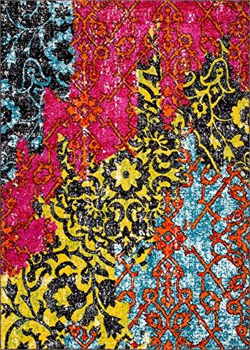 Treehouse Bohemian Patchwork Multi Pink Red Yellow Blue Orange Green Black Oriental Damask 3 x 5 ( 3'3
