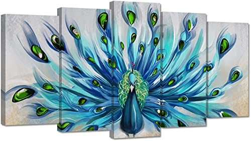 ZingArts 5 Pieces Canvas Wall Art Teal Blue Green Peacock Showing Its Beautiful Feathers Animal Picture Painting on Canvas Framed