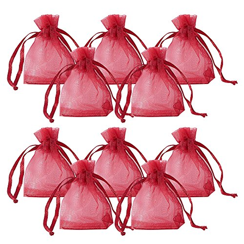 PH PandaHall 100pcs Rectangle Organza Gift Bags Drawstring Pouches for Wedding Party Christmas Warp Favor Gift Bags Dark Red 7x5cm