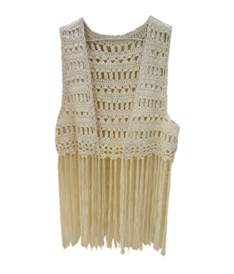 6f207a67586fb Image Unavailable. Image not available for. Color: Crochet Bikini Cover up  Fringe Tank Top Hippie Summer Beachwear