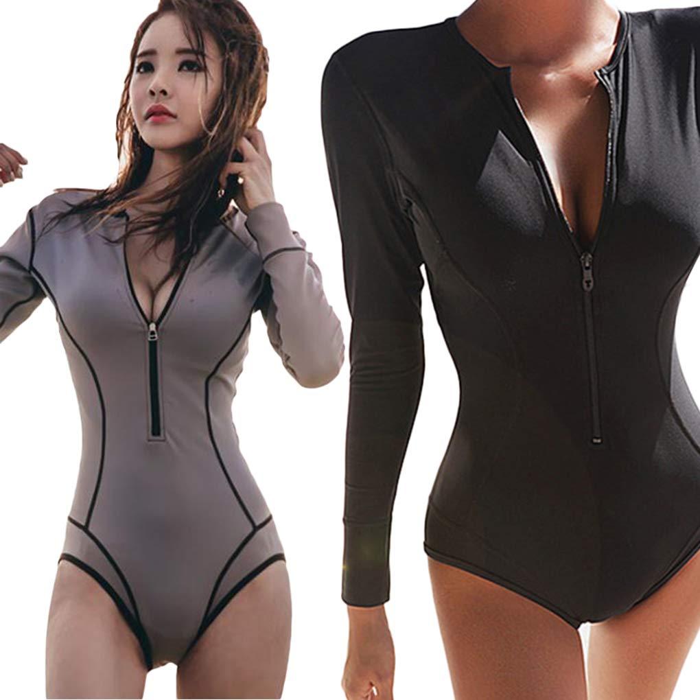 EgalBest Women Girls Deep V-Neck Sun Protection Long Sleeve Swimsuits Retro Padded Up Swimming Costume Black M