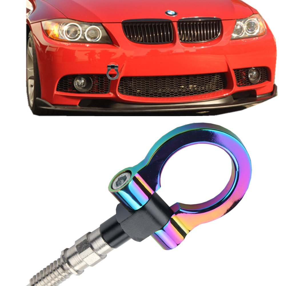 JGR Track Racing Style Tow Hook Towing Eye CNC Aluminum Screw On Front Rear Bumper For BMW 3 Series E36 E46 E90 E91 E92 E93 318 320 323 325 328 330 335 M3 1992 to 2012 Neo Chrome by JGR