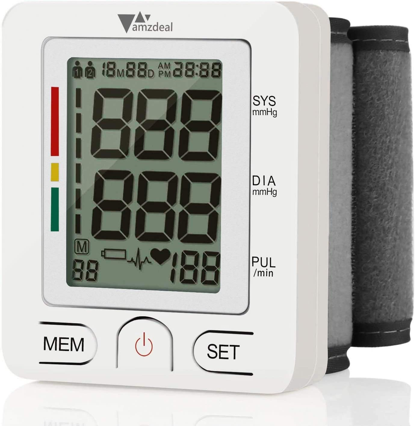 Wrist Blood Pressure Monitor – Amzdeal Blood Pressure Cuff BP Machine with Heartbeat Detector, Reading Storage for 2 Users, Home Use, FDA Approved