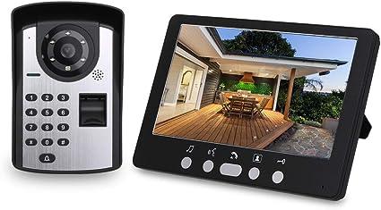 OWSOO Wifi Videocitofono Campanello Citofono Senza Fili Password Per Impronte Digitali App Telecomando 7 Pollici Monitor