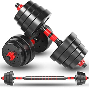 Adjustable Dumbbells, 22/33/44/55/66 Lbs Weight Set, Dumbbell Barbell 2 in 1, Solid with Rubbery Protective Cover, Easy Assembly and Save Space, Home Gym Equipment for Men and Women