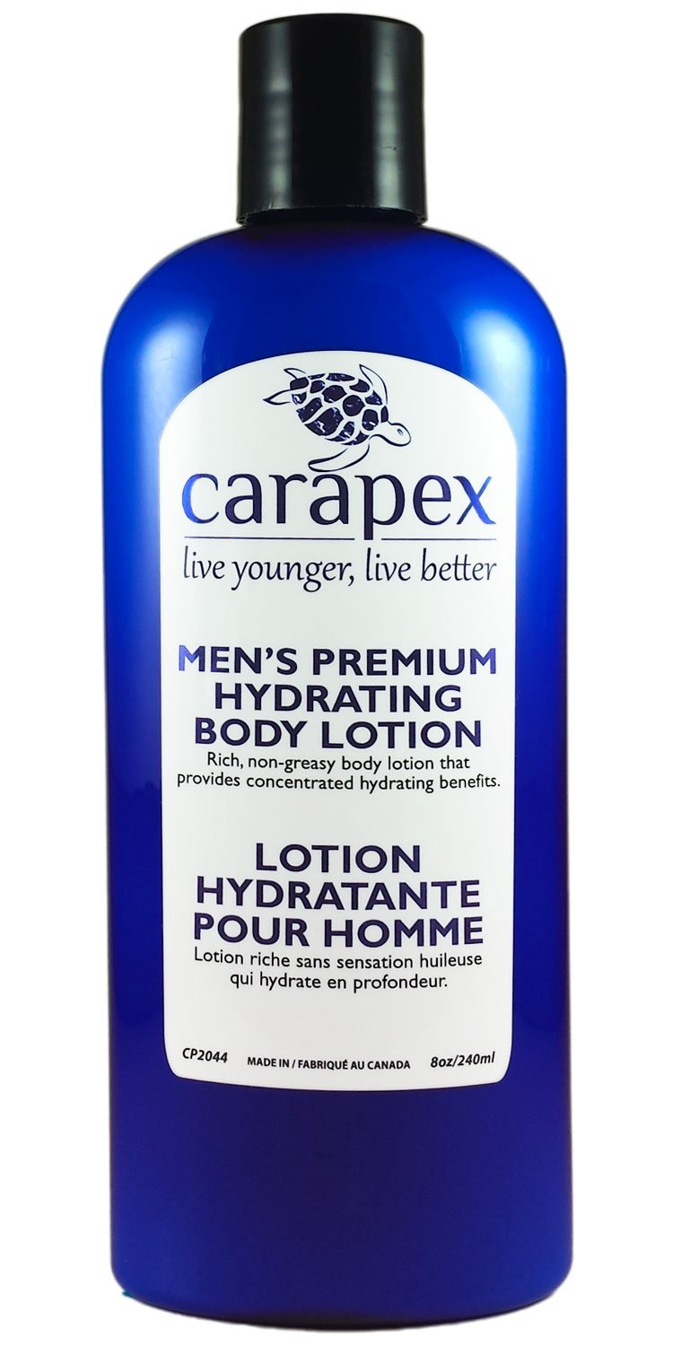 Body Lotion for Men - Carapex Premium Hydrating Body Lotion for Men, Natural Unscented Body & Hand Lotion for Dry Skin, Sensitive Skin, Rough Skin, No Parabens, Non Greasy, 240ml CP2044
