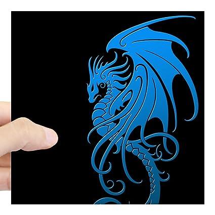4026860ee Amazon.com: CafePress Flying Tribal Blue Dragon Sticker Square Bumper  Sticker Car Decal, 3
