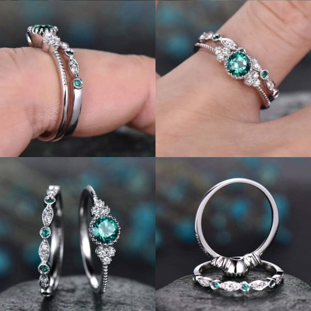 2pcs Sparkling Natural Gemstone Ring Set Silver-Plated Copper Micro Inlay Emerald Ring Women Wedding Ring C