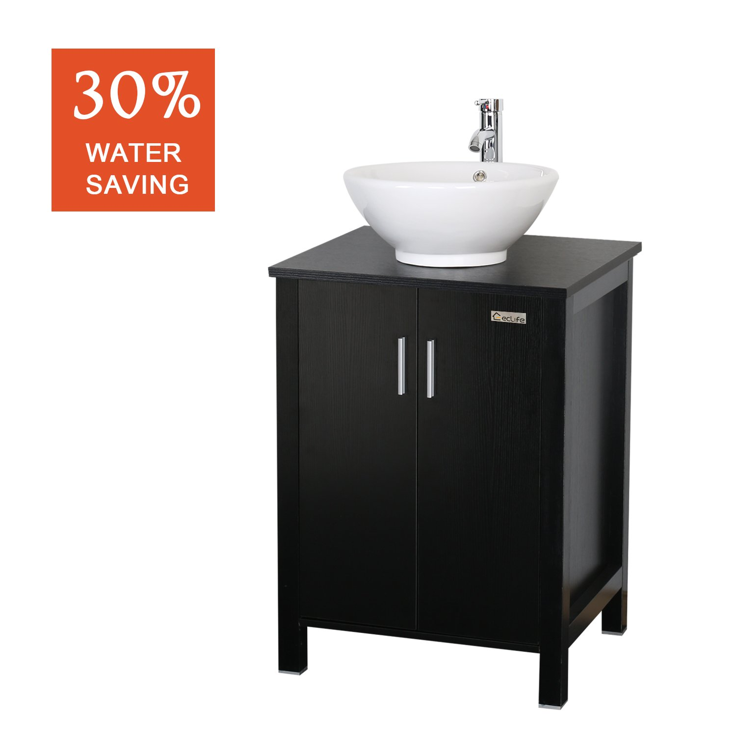 Eclife 24'' Modern Bathroom Vanity And Sink Combo (Updates) Stand Cabinet  And White Round Ceramic Vessel Sink With Overflow And Chrome Bathroom Solid  Brass