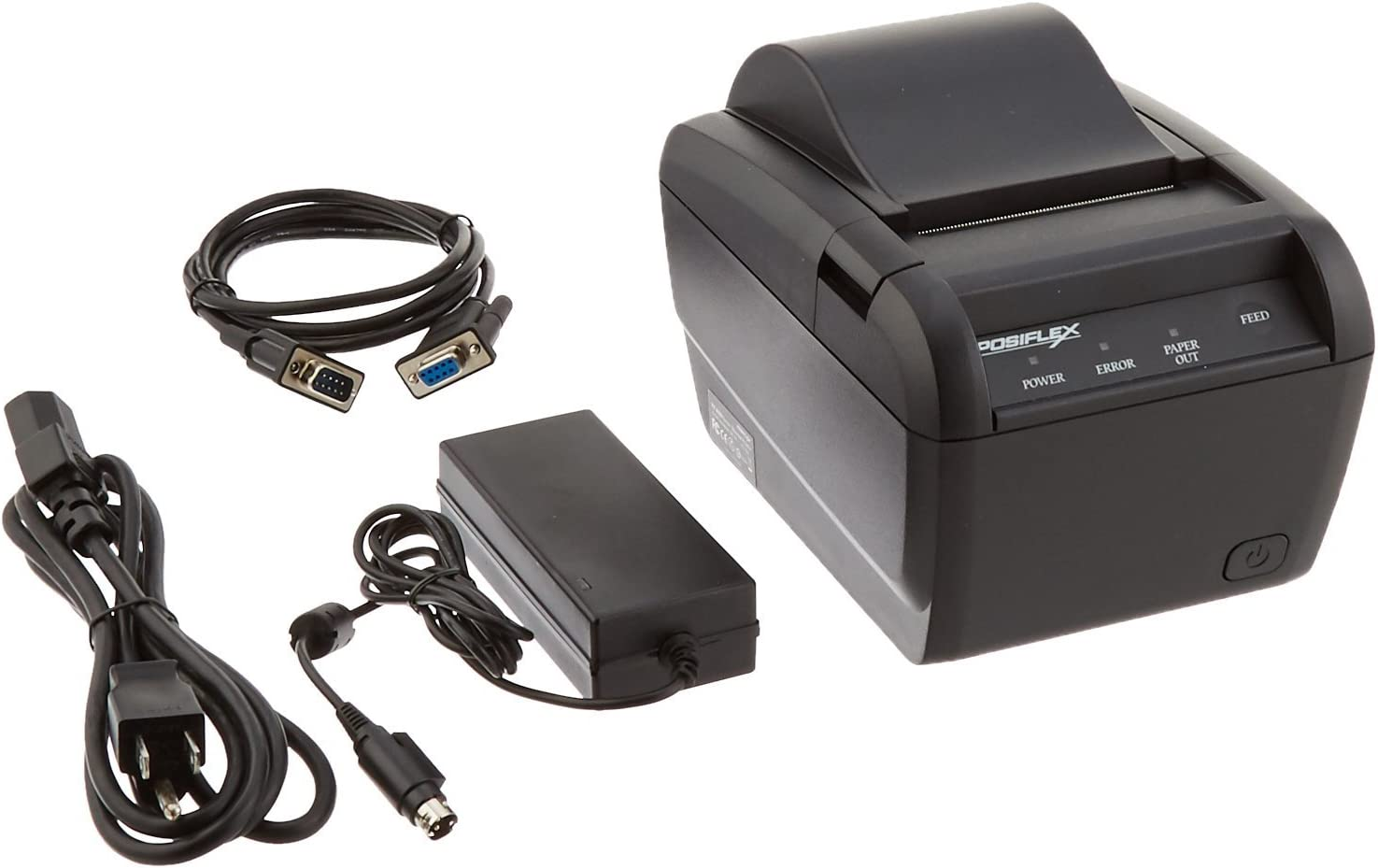 Posiflex PP8000S10410UD Series PP8000 Printer, Aura Thermal Printer, Serial Cable and Power Supply Included, Comes with Serial, Parallel and USB Interface Installed, Black