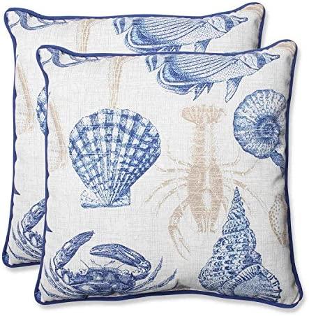 Pillow Perfect Outdoor Indoor Sealife Marine Throw Pillows, 18.5 x 18.5 , Blue, 2 Pack