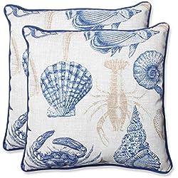 Pillow Perfect Outdoor Sealife Marine Throw Pillow, 18.5-Inch, Set of 2