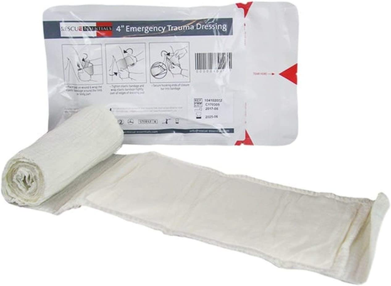 Compact Design For Pre-Hospital Casualty Care, 4 x 7 Pad with 4 x 5 Yards Elastic Wrap Rescue Essentials 4 Emergency Pressure Dressing with Closure Bar