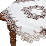 HomeCrate Decorative Handmade Embroidered Lace Table Topper - Gold, 36'' Square