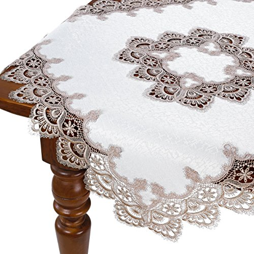 HomeCrate Decorative Handmade Embroidered Lace Table Topper - Gold, 36'' Square by HomeCrate