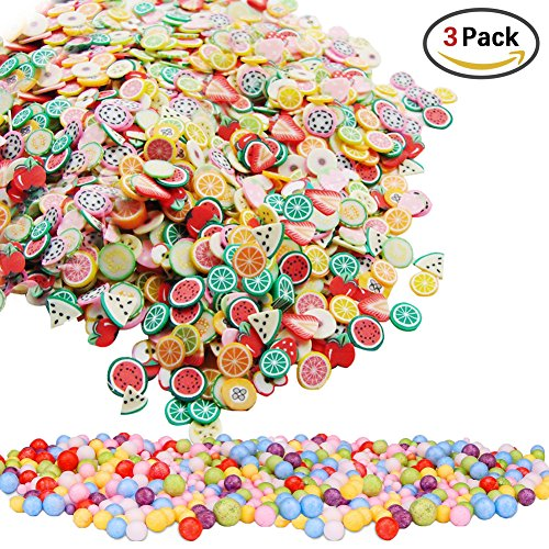 1000 Pieces Fruit Pattern Slices + 2 Pack Styrofoam Balls for Slime Making Nail Art Decoration Arts Crafts (Free Jewelry Box Patterns)