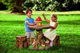 Kids Tree Tops Indoor Outdoor Furniture Set Includes Two Tree Stump Chairs Weather Resistant Childrens Toddler Activity Table for Lawn Yard