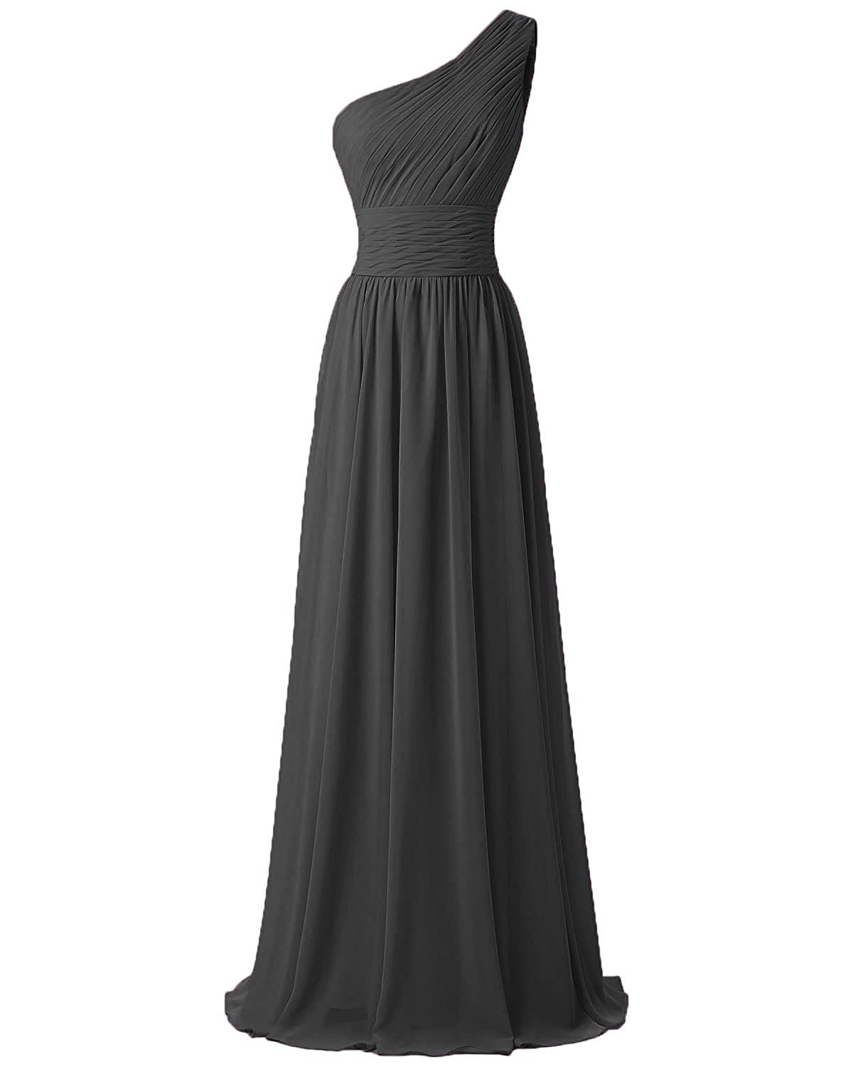 d6ef7932852 FTSOP Women s One Shoulder Bridesmaid Dresses Long Chiffon Pleated Evening  Dress at Amazon Women s Clothing store