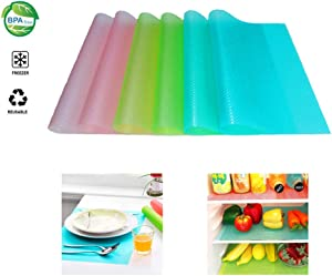 "Fridge Liners 6PCS EVA Shelf Liners 11.4""x17.7"" Washable Refrigerator Pad Mat Non-Adhesive Non-Slip Cabinet Drawer Table Liners - 3 Mixed Color"
