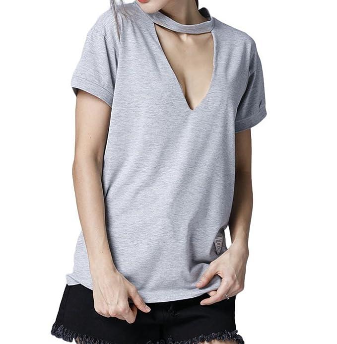 Camisetas para Mujeres Moda Cuello V Profundo Manga Corta Tops T-Shirt Colores Lisos Blusa