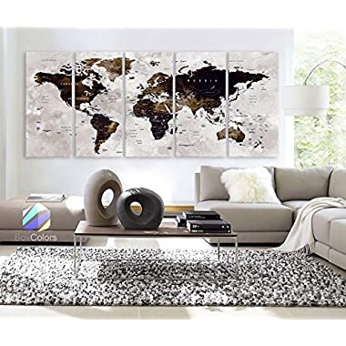 XLARGE 30 x 70  5 Panels 30 x14  Ea Art Canvas Print Watercolor Map World Countries Cities Push Pin Travel Wall color Brown beige Dark Blue decor Home interior (framed 1.5  depth)