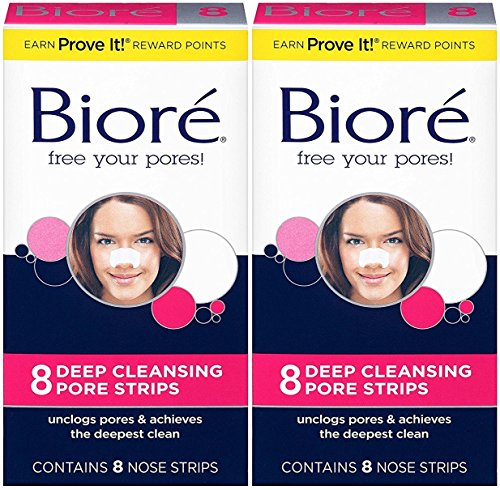 Biore Biore Deep Cleansing Pore Strips, Original 8 Count Box (Pack of 2) (Ponds White Beauty Face Wash For Men)