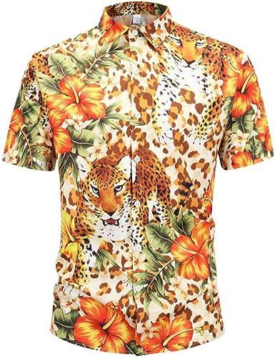 Camisa de Verano para Hombres Nueva Tendencia Camiseta de Manga Corta Estampado de Flores de Leopardo 3D Camiseta para Hombre Camisa Divertida: Amazon.es: Ropa y accesorios
